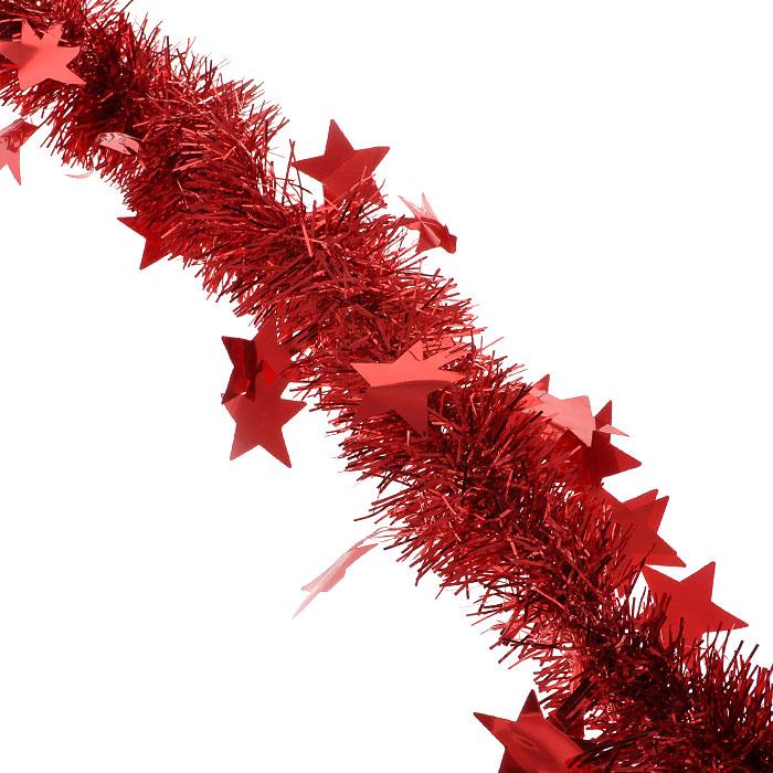 Новогодняя мишура Феникс-Презент, диаметр 6 см, длина 200 см, цвет: красный. 2695626956Яркая новогодняя мишура, усыпанная крупными звездами, поможет Вам реализовать самые экстравагантные дизайнерские идеи, украсив стены, потолок, архитектурные элементы, проемы окон и дверей. Мишура армирована, то есть имеет проволоку внутри и способна сохранять приданную ей форму. Она способна отразить блеск огней елочных гирлянд и добавить волшебства в праздничный интерьер квартиры. Создайте в своем доме атмосферу тепла, веселья и радости, украшая его всей семьей.