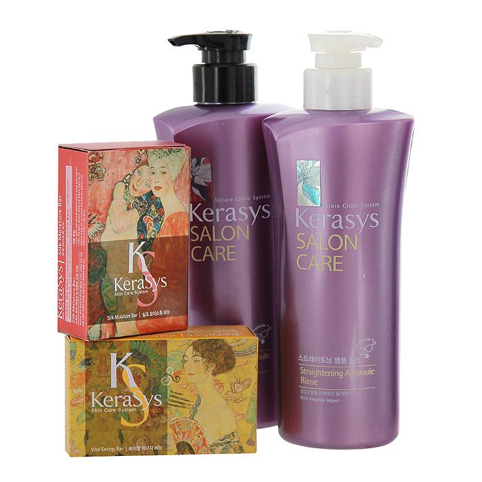 KeraSys Подарочный набор для волос Salon Care. Выпрямление: шампунь, бальзам-ополаскиватель, мыло, 2 шт895320НПодарочный набор KeraSys Salon Care. Выпрямление состоит из шампуня, бальзам-ополаскивателя для волос и двух мыл. К набору прилагается подарочный пакет с двумя ручками. Шампунь KeraSys Salon Care с трехфазной системой восстановления предназначен для вьющихся волос. Компонент природного протеина, содержащегося в экстракте моринги, аминокислоты экстракта фиалки и технология ампульной терапии успокаивает и выпрямляет вьющиеся волосы. Трехфазная система восстановления: Природный протеин, содержащийся в экстракте плодов моринги, укрепляет и оздоравливает структуру поврежденных волос. Компонент аминокислот, содержащийся в экстракте цветка фиалки, придает мягкость волосам. Компонент природного кератина, полифенол, компонент красного вина и кристаллический компонент делают волосы здоровыми. Бальзам-ополаскиватель для волос Kerasys Salon Care с трехфазной системой восстановления предназначен для вьющихся волос. Компонент природного протеина,...