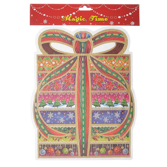 Оконное украшение Подарок. 1754317543Оконное украшение Подарок поможет вам подготовить свой дом к предстоящим праздникам. Цветные изображения и глиттер нанесены на прозрачную клейкую пленку. С помощью таких украшений вы сможете оживить интерьер по вашему вкусу: наклеить их на окно, на зеркала и даже на двери.