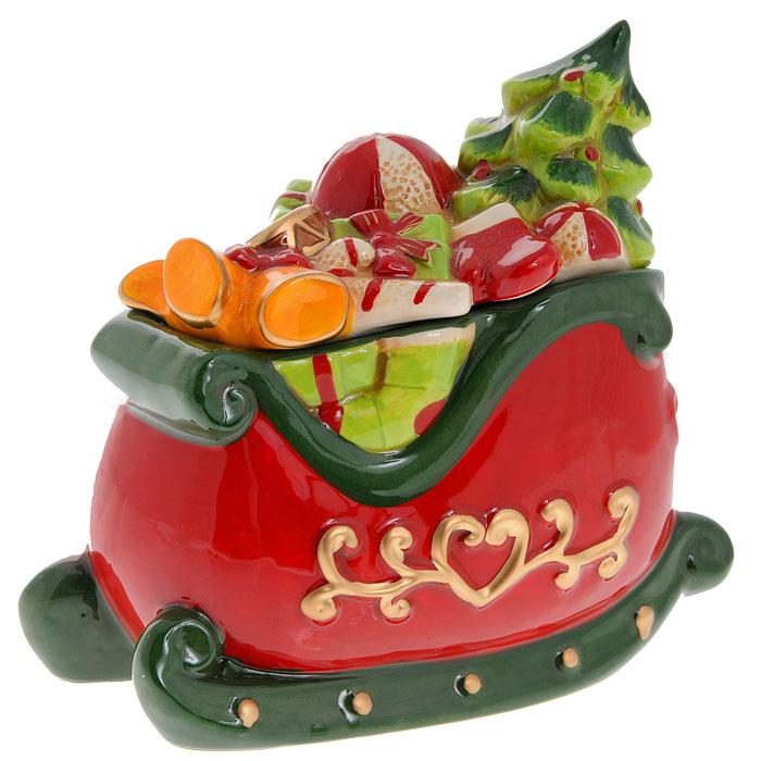 """Новогодняя декоративная шкатулка """"Сани с подарками"""". Ф21-2082"""