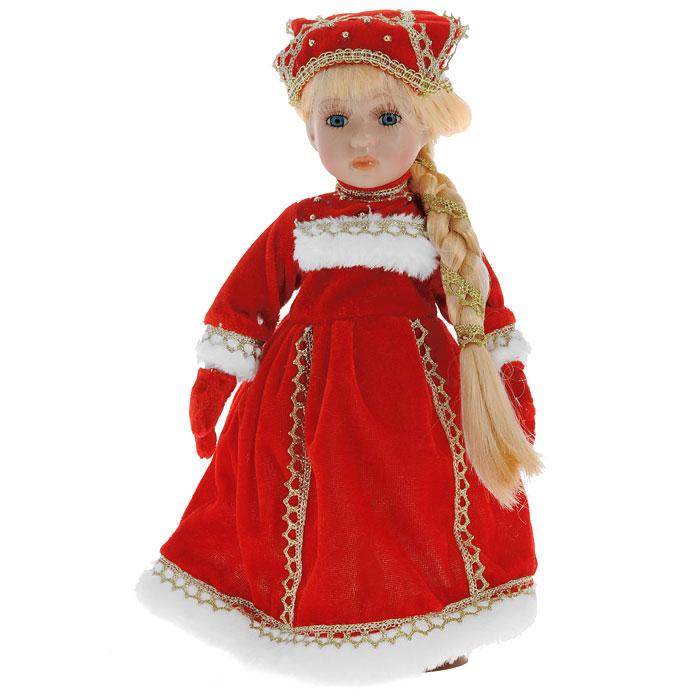 Декоративная керамическая кукла, на подставке, 31 см. Ф21-2170Ф21-2170Великолепная кукла, выполненная из керамики, займет достойное место в вашей коллекции. Туловище куклы мягконабивное. Лицо с трогательным взглядом, обрамленным пышными ресницами, и светлые волосы, заплетенные в косу, словно шелк, максимально приближены к живому прототипу - юной леди с румянцем на щеках. Кукла наряжена в красное бархатистое платье, расшитое золотистой тесьмой. Рукава, нагрудник и подол отделаны белым искусственным мехом. Кукла одета в белые панталоны. На ногах - гольфы и башмачки на шнурках из искусственной кожи. На голове - красный кокошник, расшитый золотистой тесьмой и бусинами. Кукла установлена на подставку, благодаря которой вы можете поместить ее в любом понравившемся вам месте. Характеристики: Высота куклы: 31 см. Материал: керамика, текстиль, пластик. Размер упаковки: 15 см х 10 см х 31,5 см. Артикул: Ф21-2170. Изготовитель: Китай.
