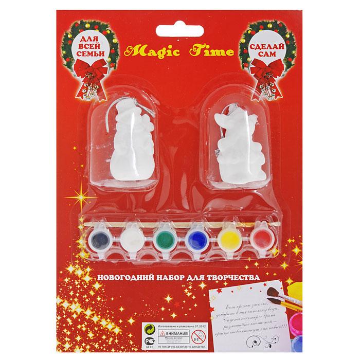 Новогодний набор для творчества Merry Christmas, 9 предметов. 2678226782Набор для творчества Merry Christmas включает в себя 2 керамические игрушки, 6 флакончиков с краской и кисть. Раскрасьте новогодние игрушки вместе с ребенком и повесьте на елку. Игрушки, выполненные в виде снеговика и лося, будут радовать глаз и создадут хорошее настроение. Рельефные раскраски специально разработаны для эффективного применения методик развития памяти, моторики и внимания ребенка. Они позволяют использовать различные приемы оформления и элементы аппликаций, причем уровень сложности вы можете выбирать самостоятельно.