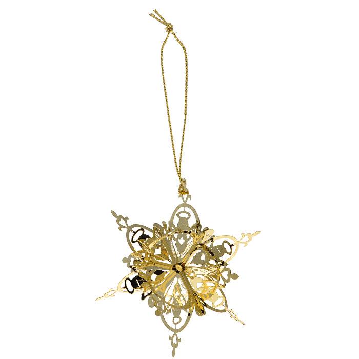 Новогоднее подвесное украшение Снежинка, цвет: золотистый. 2510125101Новогоднее подвесное украшение Снежинка, выполненное из золотистого металла, украсит интерьер вашего дома или офиса в преддверии Нового года. Оригинальный дизайн и красочное исполнение создадут праздничное настроение. Новогодние украшения всегда несут в себе волшебство и красоту праздника. Создайте в своем доме атмосферу тепла, веселья и радости, украшая его всей семьей.