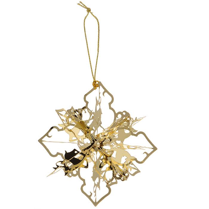 Новогоднее подвесное украшение Снежинка, цвет: золотистый. 2510525105Новогоднее подвесное украшение Снежинка, выполненное из золотистого металла, украсит интерьер вашего дома или офиса в преддверии Нового года. Оригинальный дизайн и красочное исполнение создадут праздничное настроение. Новогодние украшения всегда несут в себе волшебство и красоту праздника. Создайте в своем доме атмосферу тепла, веселья и радости, украшая его всей семьей.