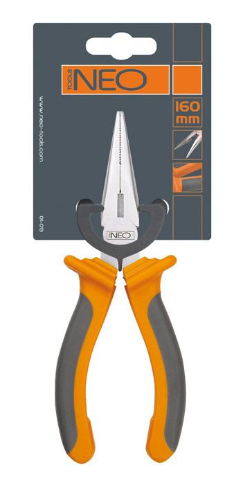 Плоскогубцы Neo, удлиненные, прямые, 160 мм01-013Плоскогубцы Neo изготовлены из хром ванадиевой стали. Они предназначены для захвата, зажима и удержания мелких деталей. Имеют эргономичные ручки.