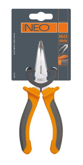 Плоскогубцы Neo, удлиненные, изогнутые, 160 мм01-015Плоскогубцы Neo изготовлены из хром ванадиевой стали. Они предназначены для захвата, зажима и удержания мелких деталей. Имеют эргономичные ручки.