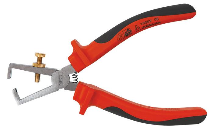 Клещи для снятия изоляции Neo, 0,5-5 мм, до 1000 В01-059Клещи для снятия изоляции Neo предназначены для очищения от изоляции проводов из меди и алюминия. Имеют двухкомпанентные эргономичные ручки. Возможна работа с проводами под напряжением до 1000 вольт.