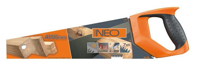 Ножовка по дереву Neo с тефлоновым покрытием, 40 см41-011Ножовка по дереву Neo предназначена для распила древесины мягких и твердых пород, фанеры, ДСП, ПХВ. Тефлоновое покрытие зубьев позволяет работать с сырой древесиной. Эргономичная рукоятка позволяет точно вести инструмент во время работы.