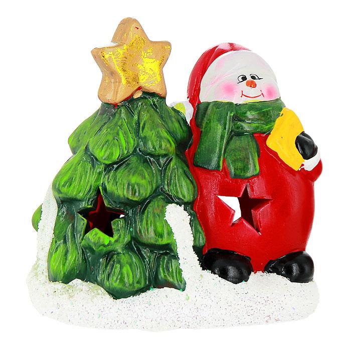 """Феникс-презент Новогодний подсвечник """"Снеговик с елочкой"""", цвет: красный, зеленый, белый"""