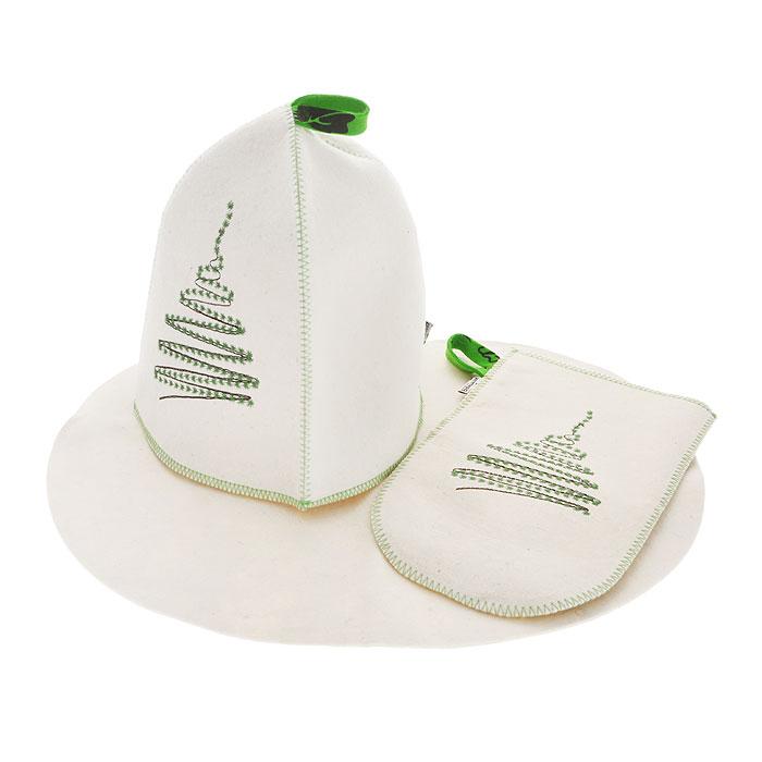 Подарочный набор для бани и сауны Елочка, фетр, цвет: белый, 3 предметаА283Подарочный набор для бани и сауны Елочка, выполненный из фетра белого цвета, незаменим для любителей попариться в русской бане и для тех, кто предпочитает сухой жар финской бани. В набор входят все необходимые аксессуары, для того чтобы банный поход принес вам только радость. Набор состоит из коврика, шапки и рукавицы. Шапка и рукавица оформлены стильной и оригинальной вышивкой в виде елочки. Шапка - незаменимая вещь в парной. Она необходима для того, чтобы не перегреть голову, также она должна хорошо впитывать влагу. Коврик убережет вас от горячей полки, защитит вас в общественной бане, а рукавица обезопасит ваши руки от горячего пара или ручки ковша и поможет прекрасно помассировать тело. Характеристики: Материал: фетр (шерсть). Диаметр основания шапки: 36 см. Высота шапки: 25 см. Размер коврика: 44 см х 33 см. Размер рукавицы: 27,5 см х 16,5 см. Производитель: Россия. Артикул: А283.