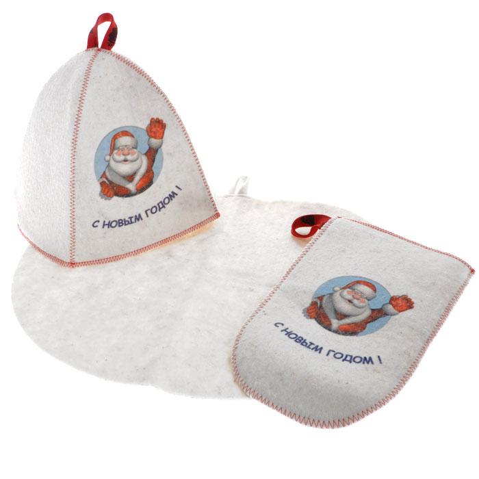 Подарочный набор для бани и сауны Дед Мороз, войлок, цвет: белый, 3 предметаА263Подарочный набор для бани и сауны Дед Мороз, выполненный из войлока белого цвета, незаменим для любителей попариться в русской бане и для тех, кто предпочитает сухой жар финской бани. В набор входят все необходимые аксессуары, для того чтобы банный поход принес вам только радость. Набор состоит из коврика, шапки и рукавицы. Шапка и рукавица оформлены красочным принтом в виде Деда Мороза и надписью С Новым Годом!. Принт выполнен специальными стойкими красителями. Шапка - незаменимая вещь в парной. Она необходима для того, чтобы не перегреть голову, также она должна хорошо впитывать влагу. Коврик убережет вас от горячей полки, защитит вас в общественной бане, а рукавица обезопасит ваши руки от горячего пара или ручки ковша и поможет прекрасно помассировать тело. Характеристики: Материал: войлок (шерсть, ПЭФ). Диаметр основания шапки: 36 см. Высота шапки: 25 см. Размер рукавицы: 27 см х 16 см. Размер коврика: 44 см х 33 см. ...