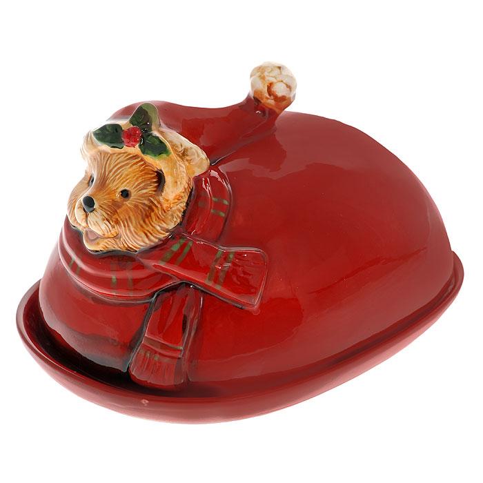 Масленка Новогодний медвежонокФ21-1366Керамическая масленка Новогодний медвежонок прекрасно впишется в интерьер вашей кухни и станет необходимым предметом обихода. Масленка украшена головой медвежонка в новогоднем колпаке, помпон которого служит ручкой масленки.