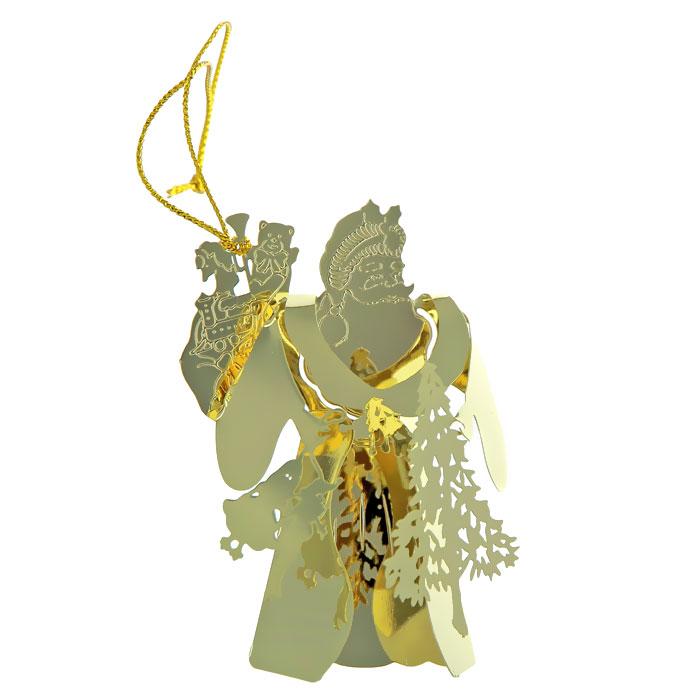Новогоднее подвесное украшение. 2506225062Новогоднее украшение выполнено из черного окрашенного металла в виде Деда Мороза с елкой и подарками. Вы можете подвесить его в любом месте, где оно будет удачно смотреться, и радовать глаз. Кроме того, это украшение - отличный вариант подарка для ваших близких и друзей. Новогодние украшения всегда несут в себе волшебство и красоту праздника. Создайте в своем доме атмосферу тепла, веселья и радости, украшая его всей семьей. Характеристики: Материал: металл. Размер: 7 см х 5 см х 2 см. Артикул: 25062.
