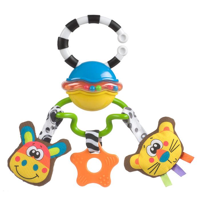 Музыкальная игрушка-подвеска Playgro Сафари0182253Музыкальная игрушка-подвеска Playgro Сафари не позволит скучать вашему малышу! Игрушка выполнена из безопасного пластика с использованием текстиля, в виде подвески с двумя игрушками-животными (музыкальная лошадка и тигренок с безопасным зеркальцем) и прорезывателем посередине. Игрушки легко снимаются с подвески. Специальное кольцо, прикрепленное к вершине подвески, предназначено для удобного крепления подвески к коляске, кроватке или дуге коврика. Погремушка выполнена с учетом маленьких ручек малыша. Музыкальная игрушка-подвеска Playgro Сафари поможет ребенку развить мелкую моторику рук, зрительное и слуховое восприятие и тактильные ощущения.