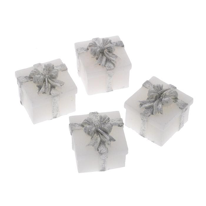 Набор свечей декоративных Подарок, цвет: серебристый, 4 шт где ножи для резных свечей