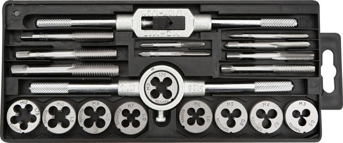 Набор для нарезки резьбы Topex, 20 шт14A425Плашки вольфрамовые Торех используются для нарезания метрической резьбы. В набор входит: Плашки: М3, М4, М5, М6, М7, М8, М9, М10, М12. Метчики:М3, М4, М5, М6, М7, М8, М9, М10, М12. Вороток для плашек. Вороток для метчиков. Пенал для хранения.