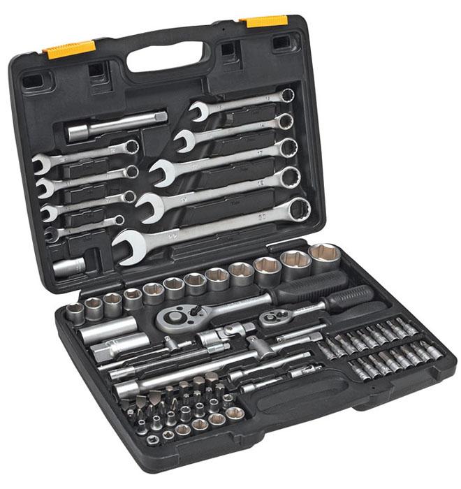 Набор инструментов Topex, 82 предмета38D686Набор инструментов Торех предназначен для слесарно-монтажных работ. Это необходимый предмет в каждом доме, набор станет незаменимым в вашем хозяйстве.Такой набор будет идеальным подарком мужчине. В состав набора входит: Трещотки: 1/2, 1/4. Отвертка для наконечников и насадок. Переходник для бит. Удлинители: 1/2 - 125 мм, 250 мм; 1/4 - 100 мм, 110 мм, 50 мм. Ключи шестигранные: 1,5 мм, 2 мм, 2,5 мм. Биты шлицевые: 8 мм, 10 мм, 12 мм. Биты крестовые: PZ3, PZ4. Биты шестиугольные: 3 мм, 4 мм, 5 мм, 6 мм, 8 мм, 10 мм, 1/8, 9/64, 5/32, 3/16, 7/32, 1/4, 5/16. Биты шестигранные: Т40, Т45, Т50, Т55. Биты Нх: 8 мм, 10 мм, 12 мм, 14 мм. Биты с головками шлицевые:4 мм, 5,5 мм, 6,5 мм. Биты с головками крестовые: РН1, РН2, PZ1, PZ2. Биты с головками шестиугольные: Т8, Т10, Т15, Т20. Биты с головками шестигранные: 3 мм, 4 мм, 5 мм, 6 мм. Удлинитель карданный 1/2. Головки свечные: 16 мм, 21 мм. ...
