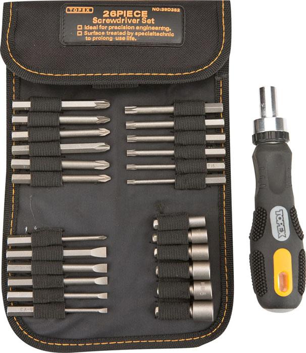 Отвертка реверсивная с битами и головками Topex, 26 шт39D352Реверсивная отвертка с битами и головками Торех предназначена для монтажа/демонтажа резьбовых соединений с применением значительных усилий. Прорезиненная рукоятка устойчива к различным смазочным материалам. Имеет магнитный наконечник. В состав набора входят: Отвертка для бит. Биты шлицевые: 3 мм, 4 мм, 5 мм, 6 мм, 7 мм. Биты крестовые: РН0, PH1, PH2, PH3, PZ1, PZ2, PZ3. Биты шестигранные: Т10, Т15, Т20, Т25, Т27, Т30. Головки торцевые: 5 мм, 6 мм, 7 мм, 8 мм, 9 мм, 10 мм. Сумка для хранения.