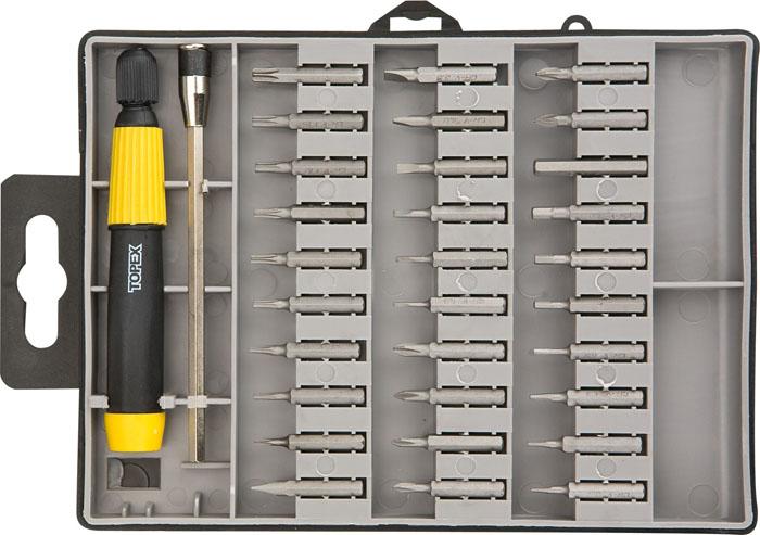 Отвертка Topex с битами, 30 шт39D555Отвертка со сменными битами Торех используется для монтажа/демонтажа резьбовых соединений. В состав набора входит: Отвертка для бит. Биты крестовые 6 шт. Биты шлицевые 7 шт. Биты шестигранные 17 шт. Пластиковый кейс для хранения.