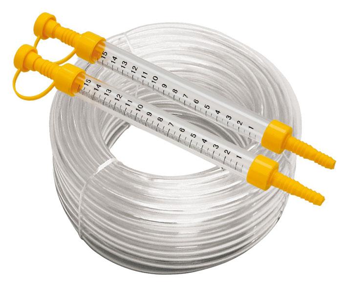 Гидроуровень со шкалой Topex, 15 м29C871Гидроуровень со шкалой Торех - это приспособление для оценки взаимного расположения удаленных точек относительно горизонтальной плоскости. Это устройство незаменимо при заливке фундаментов и стяжек, при монтаже балок, полов, потолков и т.д. Строительный гидроуровень состоит из двух колб, соединенных прозрачной трубкой, на колбы нанесена шкала с центральной нулевой меткой. Для удобства работы колбы имеют герметичные крышки, которые предотвращают вытеснение жидкости из гидроуровня при его переносе и хранении. Во время работы колпачки крышек должны быть открыты. Принцип работы гидроуровня построен на физическом законе сообщающихся сосудов (закон Паскаля), который гласит, что уровень жидкости в сообщающихся сосудах будет одинаковым.