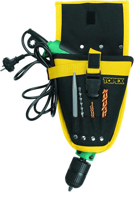 Кобура для дрели Topex. 79R415, цвет : черный, желтый79R415Кобура для дрели Торех используется для транспортировки и хранения дрели. Ее можно пристегивать к любому ремню, чтобы брать с собой, когда это необходимо. Кобура имеет 4 кармана для сверл.