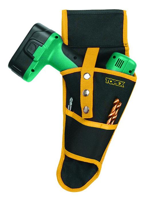 Кобура для дрели Topex. 79R416 цвет: черный, желтый79R416Кобура для дрели Торех используется для транспортировки и хранения дрели. Ее можно пристегивать к любому ремню, чтобы брать с собой, когда это необходимо. Кобура имеет 4 кармана для сверл.