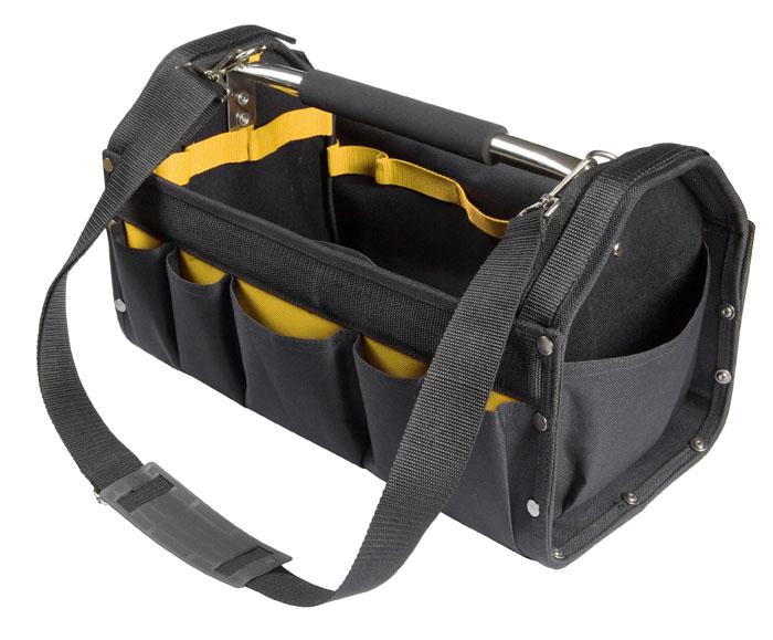 Сумка для инструментов Topex, цвет: черный, желтый, 42 х 22 х 24 см79R444Сумка Topex специально разработана для хранения и транспортировки инструмента. Она изготовлена из прочного синтетического водонепроницаемого материала и имеет практически неограниченный срок службы, а также превосходно защищает инструменты даже при работе в полевых условиях. Внутри сумки имеются специальные карманы для хранения и быстрого доступа к инструменту. Сумка снабжена прочной ручкой и лямкой на плечо.