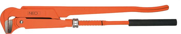 Ключ трубный Neo, 90 градусов, 1,502-131Ключ трубный Neo используется для монтажа и демонтажа у трубных резьбовых соединений. Ключ эффективен в работе благодаря его специальной усиленной конструкции. Специально разработанный угол наклона зубцов позволяет выполнить максимально возможное усилие захвата.