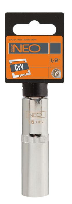 Головка торцевая Neo, удлиненная, 1/2, 12 мм08-042Головка торцевая Neo применяется для монтажа/демлнтажа резьбовых соединений. Станет отличным помощником монтажнику или владельцу авто. Этот инструмент обеспечит надежную фиксацию на гранях крепежа. Характеристики: Материал: хром-ванадий. Диаметр головки: 12 мм. Размер переходника: 1/2. Размер упаковки: 14 см х 4,5 см х 2 см.