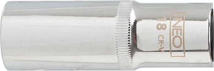 Головка торцевая Neo, удлиненная, 1/2, 27 мм08-049Головка торцевая Neo применяется для монтажа/демлнтажа резьбовых соединений. Станет отличным помощником монтажнику или владельцу авто. Этот инструмент обеспечит надежную фиксацию на гранях крепежа. Характеристики: Материал: хром-ванадий. Диаметр головки: 27 мм. Размер переходника: 1/2. Размер упаковки: 14 см х 4,5 см х 3,5 см.