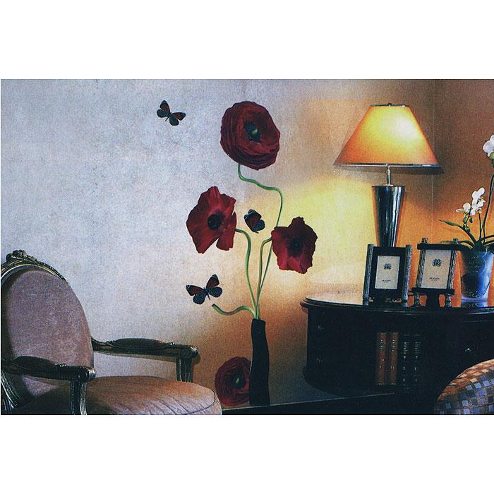 Декоративное настенное украшение Цветы, 35 см х 52 см. 2662626626Декоративное настенное украшение Цветы, выполненное из ПВХ-пленки в виде цветов в вазе и бабочек, поможет украсить дом и внести оригинальный штрих в интерьер. Украшение состоит из 11 самоклеющихся элементов. С помощью такого украшения вы сможете оживить интерьер по своему вкусу.