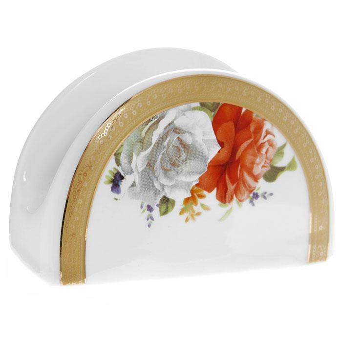 Салфетница Версаль, цвет: белый222161AСалфетница Версаль, выполненная из высококачественного фарфора, оформлена изображением роз и желтым орнаментом с золотистой эмалью. Такая салфетница прекрасно подойдет для вашей кухни и великолепно украсит стол. Салфетница Версаль станет отличным подарком для друзей и близких. Характеристики: Материал: фарфор. Цвет: белый. Размер: 10,5 см х 6,5 см х 4,5 см. Размер упаковки: 11 см х 5 см х 7 см. Артикул: 222161A.