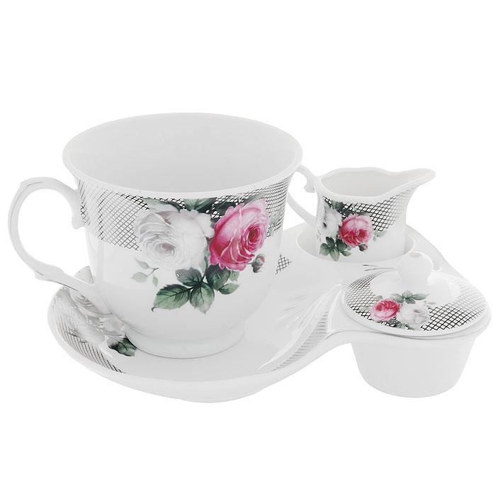 Набор для завтрака Сафир, 4 предмета222153BНабор для завтрака Сафир, выполненный из высококачественного фарфора состоит из чашки, блюдца, молочника и крышечки. Они оформлены красочным рисунком, на котором изображены розы. Благодаря такому набору ваш завтрак будет еще вкуснее. Набор для завтрака Сафир сочетает в себе изысканный дизайн с максимальной функциональностью. Оригинальность оформления придется по вкусу и ценителям классики, и тем, кто предпочитает утонченность и изящность. Такой набор послужит замечательным подарком к любому празднику. Предметы набора упакованы в стильную подарочную коробку из плотного картона синего цвета.