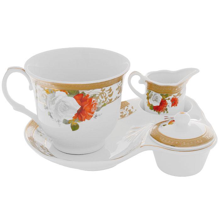 Набор для завтрака Версаль, 4 предмета222153AНабор для завтрака Версаль, выполненный из высококачественного фарфора состоит из чашки, блюдца, молочника и крышечки. Предметы декорированы красочным изображением оранжевых роз и оформлены золотистой эмалью. Благодаря такому набору ваш завтрак будет еще вкуснее. Набор для завтрака Версаль сочетает в себе изысканный дизайн с максимальной функциональностью. Такой набор послужит замечательным подарком к любому празднику. Предметы набора упакованы в стильную подарочную коробку из плотного картона синего цвета.
