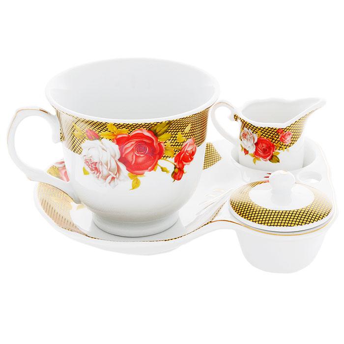 Набор для завтрака Галерея роз, 4 предмета4601137104485Набор для завтрака Галерея роз, выполненный из высококачественного фарфора состоит из чашки, блюдца, молочника и крышечки. Они оформлены красочным рисунком, на котором изображены цветы. Благодаря такому набору ваш завтрак будет еще вкуснее. Набор для завтрака Галерея роз сочетает в себе изысканный дизайн с максимальной функциональностью. Оригинальность оформления придется по вкусу и ценителям классики, и тем, кто предпочитает утонченность и изящность. Такой набор послужит замечательным подарком к любому празднику. Предметы набора упакованы в стильную подарочную коробку из плотного картона синего цвета.