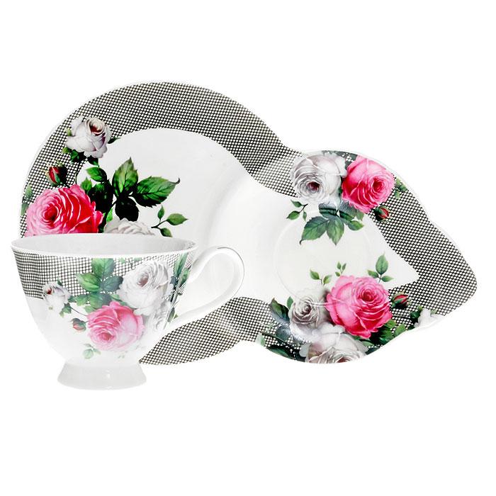 Чайная пара Сафир, 2 предмета4601137104515Чайная пара Сафир изготовлена из высококачественного фарфора и декорирована красочным рисунком с изображением белых и красных роз, сочетает в себе изысканный дизайн с максимальной функциональностью. Красочность оформления придется по вкусу ценителям утонченности и изысканности. Оригинальный рисунок придает набору особый шарм, который понравится каждому.