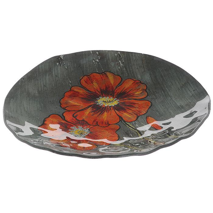 Блюдо Lillo Glass, цвет: серый, оранжевый, 29,5 х 25,5 х 4,5 см213061Блюдо Lillo Glass, изготовленное из стекла, оформлено изображением оранжевых цветов с серебристыми блестками. Такое блюдо сочетает в себе изысканный дизайн с максимальной функциональностью. Красочность оформления придется по вкусу тем, кто предпочитает утонченность и изящность. Оригинальное блюдо украсит сервировку вашего стола и подчеркнет прекрасный вкус хозяйки, а также станет отличным подарком.