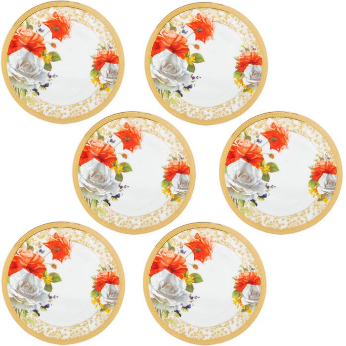 Набор десертных тарелок Версаль, диаметр 19 см, 6 шт222156AНабор Версаль состоит из шести десертных тарелок, выполненных из высококачественного фарфора. Тарелки оформлены изысканным рисунком в виде роз и золотистой каймой по краю. Они сочетают в себе изысканный дизайн с максимальной функциональностью. Оригинальность оформления тарелок придется по вкусу и ценителям классики, и тем, кто предпочитает утонченность и изящность. Набор тарелок Версаль послужит отличным подарком к любому празднику. Характеристики: Материал: фарфор. Диаметр тарелки: 19 см. Высота тарелки: 2 см. Комплектация: 6 шт. Размер упаковки: 19,5 см х 19,5 см х 6,5 см. Артикул: 222156A.