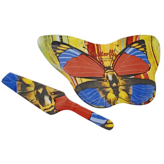 Набор для торта Бабочка, 2 предмета. GS2008/2BGS2008/2BНабор для торта Бабочка состоит из двух предметов: блюда в форме бабочки и лопатки. Предметы набора выполнены из высококачественного стекла декорированы узором под бабочку. Изящный дизайн и красочность оформления придутся по вкусу и ценителям классики, и тем, кто предпочитает утонченность и изысканность.