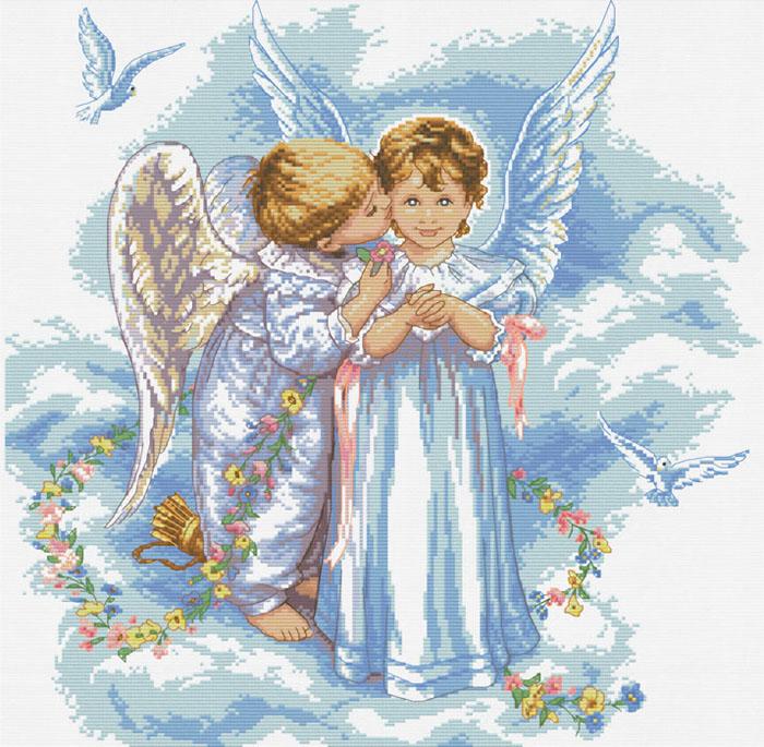 Набор для вышивания крестом Поцелуй ангела, 49 см х 49 см4001-14В наборе для вышивания крестом Поцелуй ангела есть все необходимое для создания собственного чуда: цветная символьная схема, канва Аида 14 белого цвета, нитки мулине для вышивания, 2 иголки, инструкция. Красивый и стильный рисунок-вышивка, выполненный на канве, выглядит оригинально и всегда модно. Вышивание крестиком отвлечет вас от повседневных забот, и превратится в увлекательное занятие! Работа, сделанная своими руками, создаст особый уют и атмосферу в доме, и долгие годы будет радовать вас и ваших близких.