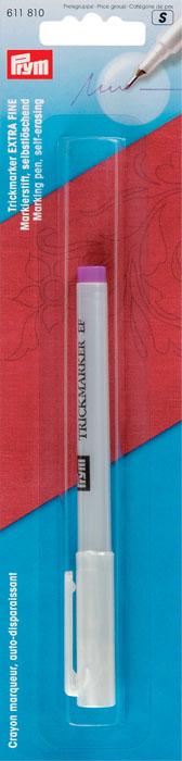 Трик-маркер самоисчезающий Prym, очень тонкий стержень, цвет: фиолетовый611810Трик-маркер Prym с очень тонким стержнем фиолетового цвета применяется для вышивки, квилтинга, пэчворка, шитья и т.д. Через несколько дней после нанесения разметка исчезает. Это зависит от вида ткани. Следы маркера удаляются чистой водой или чистой слегка влажной тканью. Следы должны быть удалены перед стиркой и глажкой. Хранить маркер необходимо вертикально, колпачком вниз.