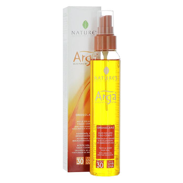 Natures Масло для лица и тела SPF30 Arga, 150 мл60150913Природа содержит все секреты красоты. Natures отбирает лучшее сырье со всего мира, чтобы сделать свои формулы максимально эффективными и дружественными к коже. Масло для лица и тела Arga - инновационное средство с высоким фактором защиты от солнца рекомендуется для светлой и чувствительной кожи. Свежая, легкая эмульсия на основе масла Арги содержит витамины и антиоксиданты, надежно сохраняет, увлажняет и питает кожу, быстро впитывается, не оставляя жирного блеска. Специальные компоненты - активаторы загара Oleoyl tyrosine (Олеоил Тирозина) и Loofah oil (масло Люфы) способствуют получению красивого бронзового оттенка кожи. Эксперты отмечают хорошую защиту от фотостарения (UVA-лучей) и от повреждения кожных покровов (UVB-лучей). Не содержит парабены. Характеристики: Объем: 150 мл. Производитель: Италия. Артикул: 60150913. Товар сертифицирован.