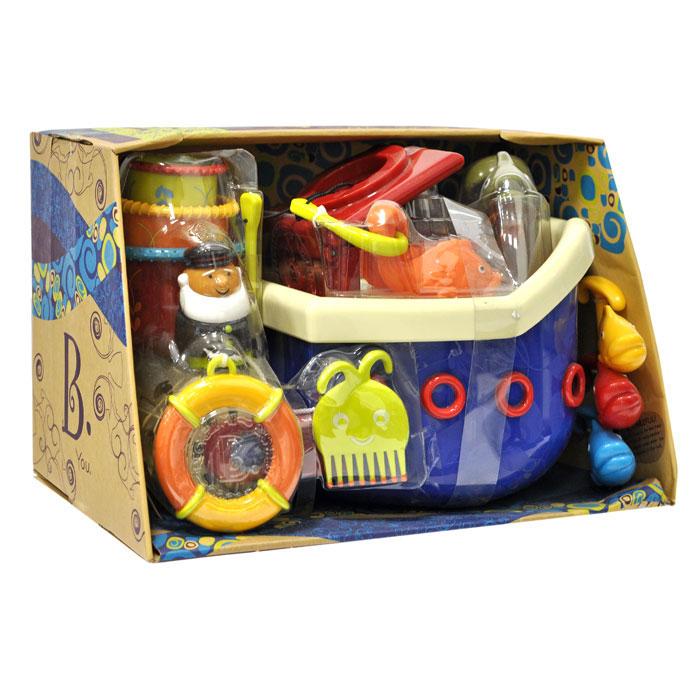 Набор игрушек для ванны Fish & Squish68607Набор игрушек для ванны Fish & Squish превратит купание в веселую игру! Набор включает в себя плавающий корабль с палубой, капитанским мостиком и капитаном, рыболовный крючок, четыре рыбки разных цветов, спасательный круг на текстильной веревочке, гребешок в виде осьминога, рыбку-щеточку для ногтей и три стаканчика разного диаметра с рельефными краями. После купания игрушки можно сложить под палубу корабля, благодаря чему они не займут много места и не потеряются. Игрушки помогут ребенку развить мелкую моторику рук, тактильные ощущения, цветовое восприятие, а милые жизнерадостные образы подарят малышу хорошее настроение. Характеристики: Материал: пластик, текстиль. Размер корабля: 31 см х 16 см х 23 см. Размер рыбки: 9 см х 5,5 см х 3 см. Высота фигурки капитана: 6 см. Размер упаковки: 34 см х 21 см х 21 см. Изготовитель: Китай.