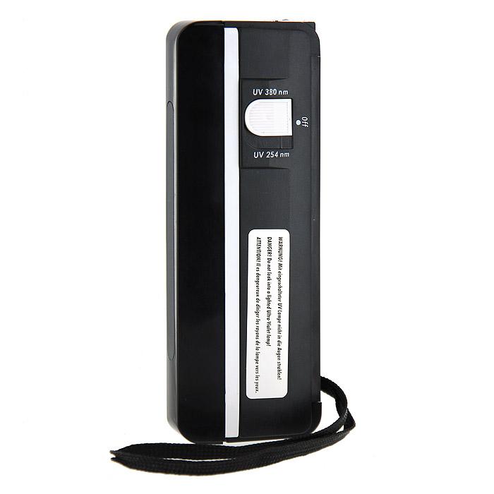 Ультрафиолетовая лампа Leuchtturm L 81971101Это удобный в обращении ультрафиолетовый детектор объединяет две функции в одном приборе. Почтовые марки, банкноты, кредитные карточки, телефонные карточки и т.д. можно проверять как на флуоресценцию, так и фосфоресценцию. Комбинация коротко- и длинноволновых ультрафиолетовых лучей (245/380 нм) делает детектор очень практичным для пользования. Лампа оснащена удобным ремешком для руки.