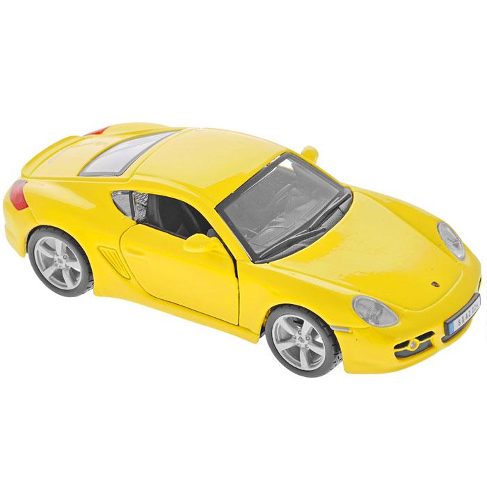 Bburago Модель автомобиля Porsche Cayman S цвет желтый18-43000Коллекционная модель Porsche Cayman S в точности воспроизводит все детали внешнего облика и интерьера салона реального спортивного автомобиля. Модель изготовлена из металла с использованием пластика и оборудована подвижными колесами с резиновыми шинами, боковыми зеркалами и открывающимися передними дверцами и поставляется в фирменной картонной коробке с прозрачным пластиковым окошком. Коллекционная модель Porsche Cayman S будет отлично смотреться в качестве оригинального подарка не только любителю автомобилей, но и человеку, ценящему стиль и изысканность, а качество исполнения представит такой подарок в самом лучшем свете.