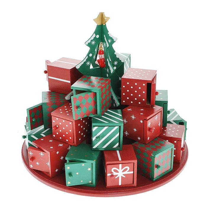 Новогоднее украшение Новогодняя елка, цвет: красный, зеленыйФ21-2232Новогоднее украшение Новогодняя елка, выполненное из дерева, отлично подойдет для декорации вашего дома. Украшение выполнено в виде круглой подставки, на которой в три ряда размещаются миниатюрные подарочные коробочки с открывающимися дверками. В центре украшения установлена декоративная зеленая елочка с подвесной красной игрушкой. Подарочные коробки красного и зеленого цветов декорированы рисунками звезд, снежинок, бантиков, белыми полосками и красными ромбами. Новогодние украшения всегда несут в себе волшебство и красоту праздника. Создайте в своем доме атмосферу тепла, веселья и радости, украшая его всей семьей. Характеристики: Материал: дерево. Цвет: красный, зеленый. Диаметр украшения:28 см. Высота украшения:16 см. Размер упаковки:29 см х 29,5 см х 16 см. Изготовитель:Китай. Артикул: Ф21-2221.