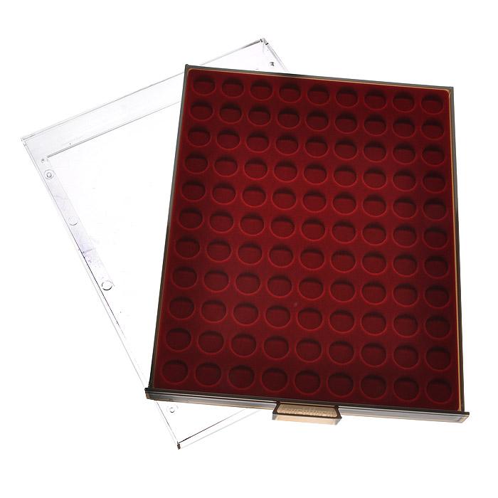 Кассета для монет Leuchtturm, MB, 99 ячеек. 81008100Кассета Leuchtturm предназначена для надежного хранения и оптимальной защиты ваших монет, а также превосходный способ их презентации. Кассета выполнена из пластика с прозрачной рамкой и вставкой из красного бархата. Подходит для шкафов стандартной глубины. Представленная кассета для монет станет прекрасным подарком для коллекционера-нумизмата! Нумизматика в качестве науки зародилась более 500 лет назад, когда впервые появилась необходимость собирать монеты мира для сохранения исторических знаний. Огромное разнообразие монет, существующих на данный момент во всем мире, дает безграничную свободу для составления тематических коллекций.