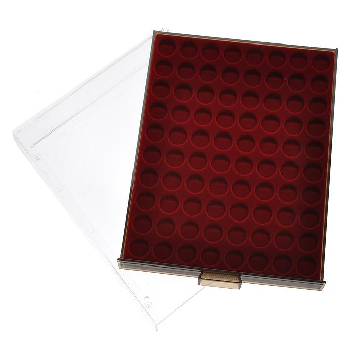 Кассета для монет Leuchtturm, MB, 80 ячеек. 80998099Кассета Leuchtturm предназначена для надежного хранения и оптимальной защиты ваших монет, а также превосходный способ их презентации. Кассета выполнена из пластика с прозрачной рамкой и вставкой из красного бархата. Подходит для шкафов стандартной глубины. Представленная кассета для монет станет прекрасным подарком для коллекционера-нумизмата! Нумизматика в качестве науки зародилась более 500 лет назад, когда впервые появилась необходимость собирать монеты мира для сохранения исторических знаний. Огромное разнообразие монет, существующих на данный момент во всем мире, дает безграничную свободу для составления тематических коллекций.