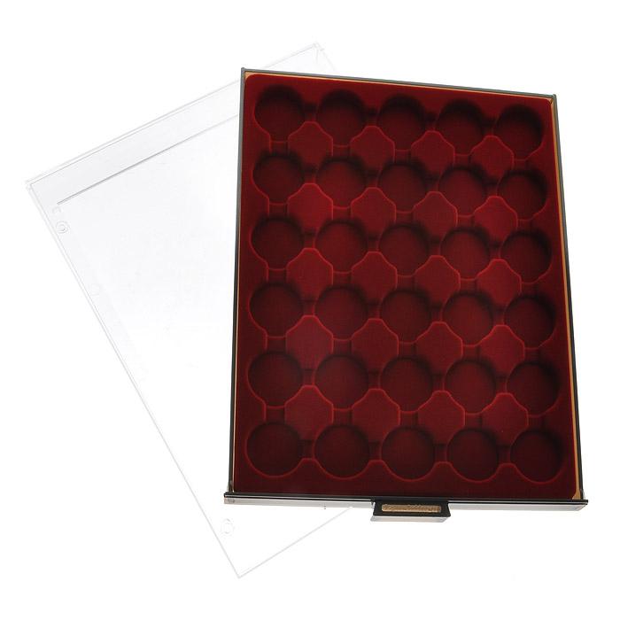Кассета для монет в капсулах Leuchtturm, 30 ячеек307910Кассета Leuchtturm предназначена для надежного хранения и оптимальной защиты ваших монет, а также превосходный способ их презентации. Кассета выполнена из пластика с прозрачной рамкой и вставкой из красного бархата. Подходит для шкафов стандартной глубины.