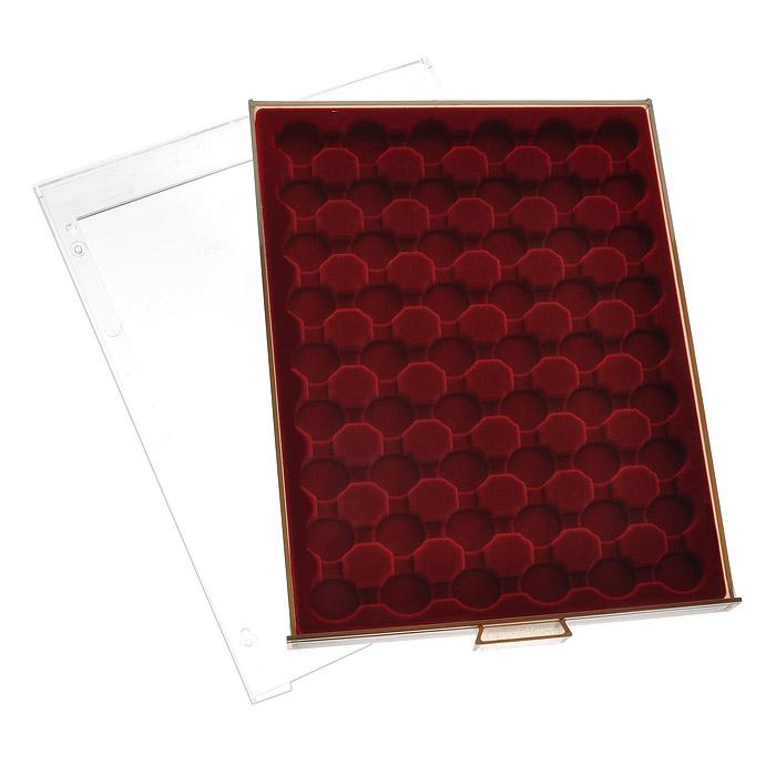 Кассета для монет Leuchtturm, 48 ячеек309351Кассета Leuchtturm предназначена для надежного хранения и оптимальной защиты ваших монет, а также превосходный способ их презентации. Кассета выполнена из пластика с прозрачной рамкой и вставкой из красного бархата. Подходит для шкафов стандартной глубины.